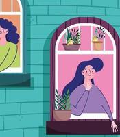 Frauen im Fenster mit Topfpflanzen
