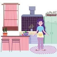 flicka med grönsaksskål i köket