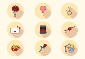 Schöne San Valentin Icons vektor
