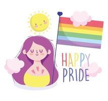 Mädchenkarikatur mit lgbti Flagge und Sonne