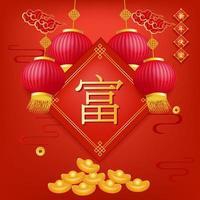 kinesiska nyår rika karaktärer design