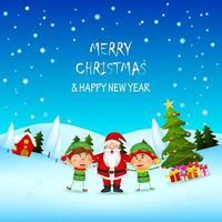 jul och nyårsplats med santa och älvor vektor