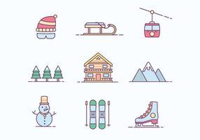Free Winter Ski Resort Icon vektor