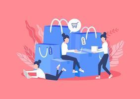 Frau sitzt mit Taschen und Kisten von Waren