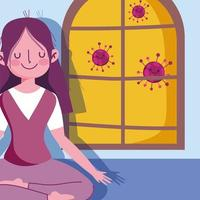 flicka i yogaställning nära fönster vektor