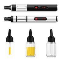 realistische Vaping-Produkte und elektronisches Zigaretten-Set vektor