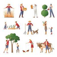 uppsättning bönder som arbetar