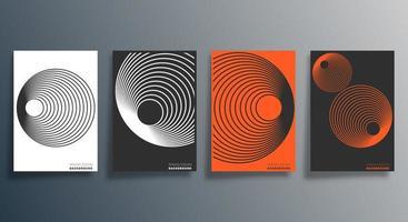 geometrisches Design in Orange, Schwarz, Weiß für Flyer, Poster, Broschüre