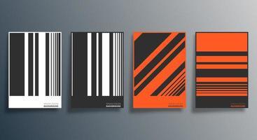 orange, svart, vit randig design reklamblad, affisch, broschyr vektor