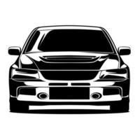 Schwarzweiss-Autofrontzeichnung