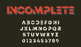 minimala bokstäver och siffror ofullständig alfabetdesign vektor