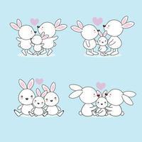 uppsättning härlig tecknad vit kaninfamilj vektor