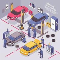 isometrischer Auto-Service-Innenraum