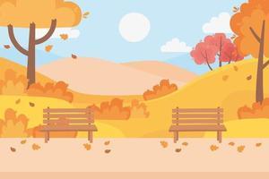 parkbänkar, fallande löv, stig och träd