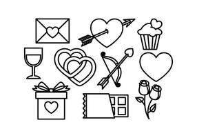 Fri Valentines Ikoner Vektor