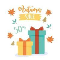 Herbstverkauf. Geschenkboxen und Rabatt