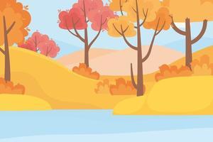 skog, träd, gräs och sjö
