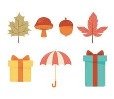 paraply, gåvor, ekollon, svamp och blad ikoner vektor