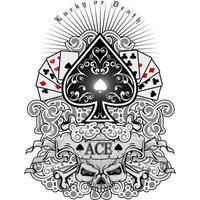 Pik-Symbol mit Spielkarten und Schädel