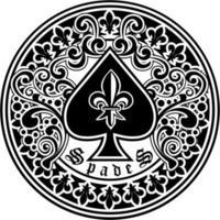 Pik-Symbol mit filigraner und Lilienblume