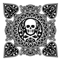 spadedesign med filigran och piratskalle