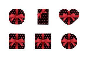 Satz schwarze und rote Geschenkboxen vektor