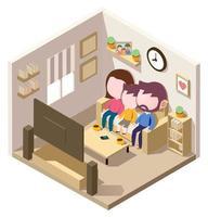 isometrische Familie, die im Wohnzimmer fernsieht