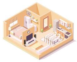 isometriskt hus med orange väggar olika rumssammansättning