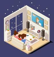 isometrische Familie, die Nachrichten im Wohnzimmer beobachtet