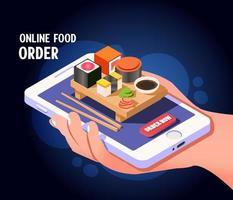 isometrisches Online-Bestellkonzept für Lebensmittelbestellungen