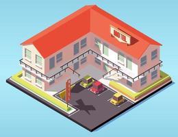 isometrisches Motelgebäude mit Parkplatz