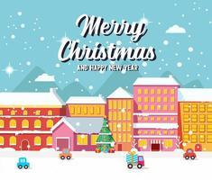 jul stadsbild med fordon och dekorerade träd