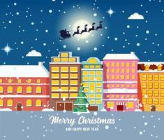 Weihnachtsstadtbild mit Weihnachtsmann, der im Schlitten fliegt vektor