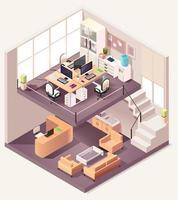 isometrisk kontor olika våningar sammansättning