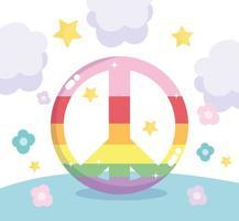 regnbåge HBT fred tecken vektor