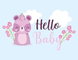 Babyparty Hallo Waschbärenblumen vektor