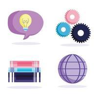 bunt med böcker, världen, kreativitet, redskap ikoner