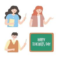 lächelnder männlicher und weiblicher Lehrer und Tafel