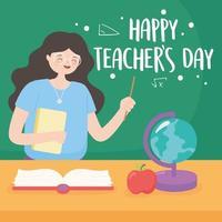 lärare med svarta tavlan, karta, bok och äpple