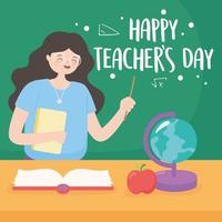 Lehrer mit Tafel, Karte, Buch und Apfel