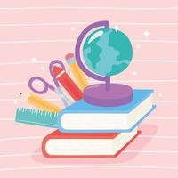 globkarta, böcker, sax, krita, penna och linjal