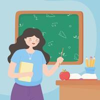 lärare med papper, bok, äpple och pennor