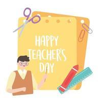 männlicher Lehrer, Wachsmalstift, Lineal, Schere, Clips und Papiere