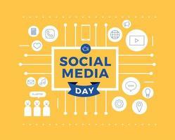 sociala medier dag händer linje ikoner design vektor