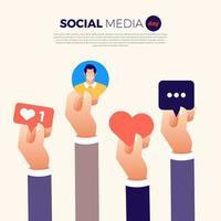 sociala medier dag händer som håller ikoner design vektor