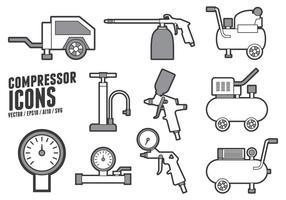 Air Pump och kompressor tillbehör ikoner vektor