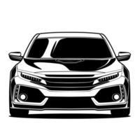 svartvita bil fram ritning