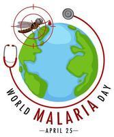 värld malariadag logotyp eller banner med mygga och stetoskop