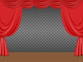 leere Bühne mit roten Vorhängen transparent vektor