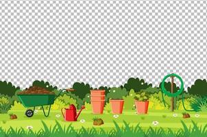 Garten mit Werkzeuglandschaft auf transparentem Hintergrund